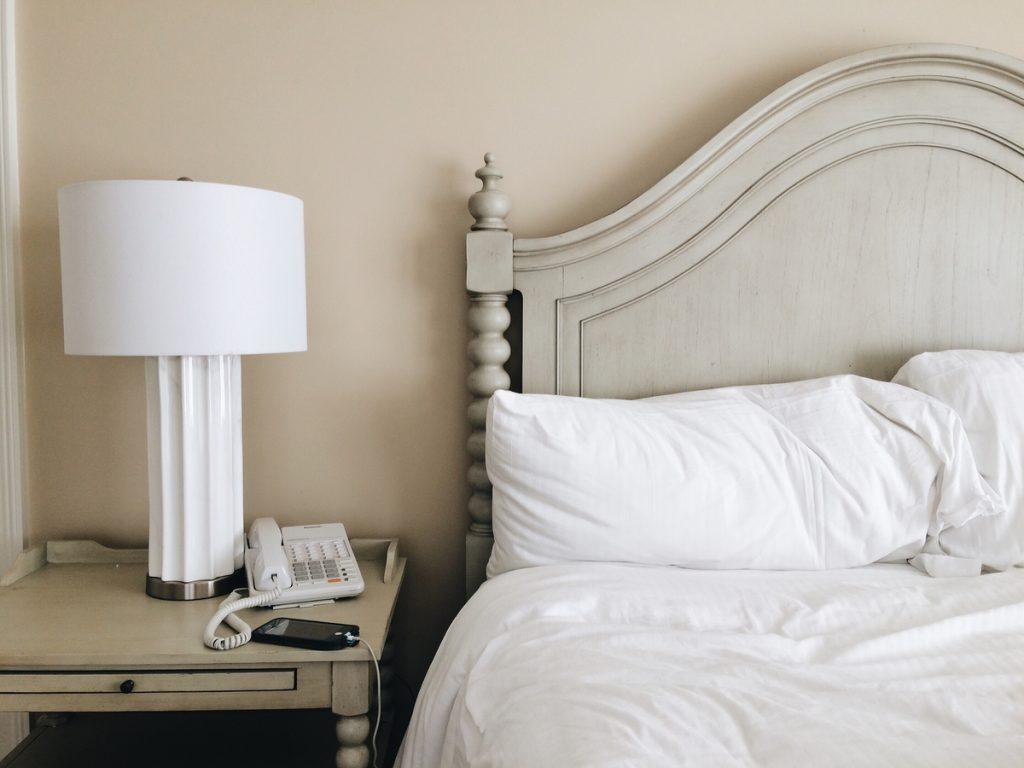 bedroom morning bed nightstand phone
