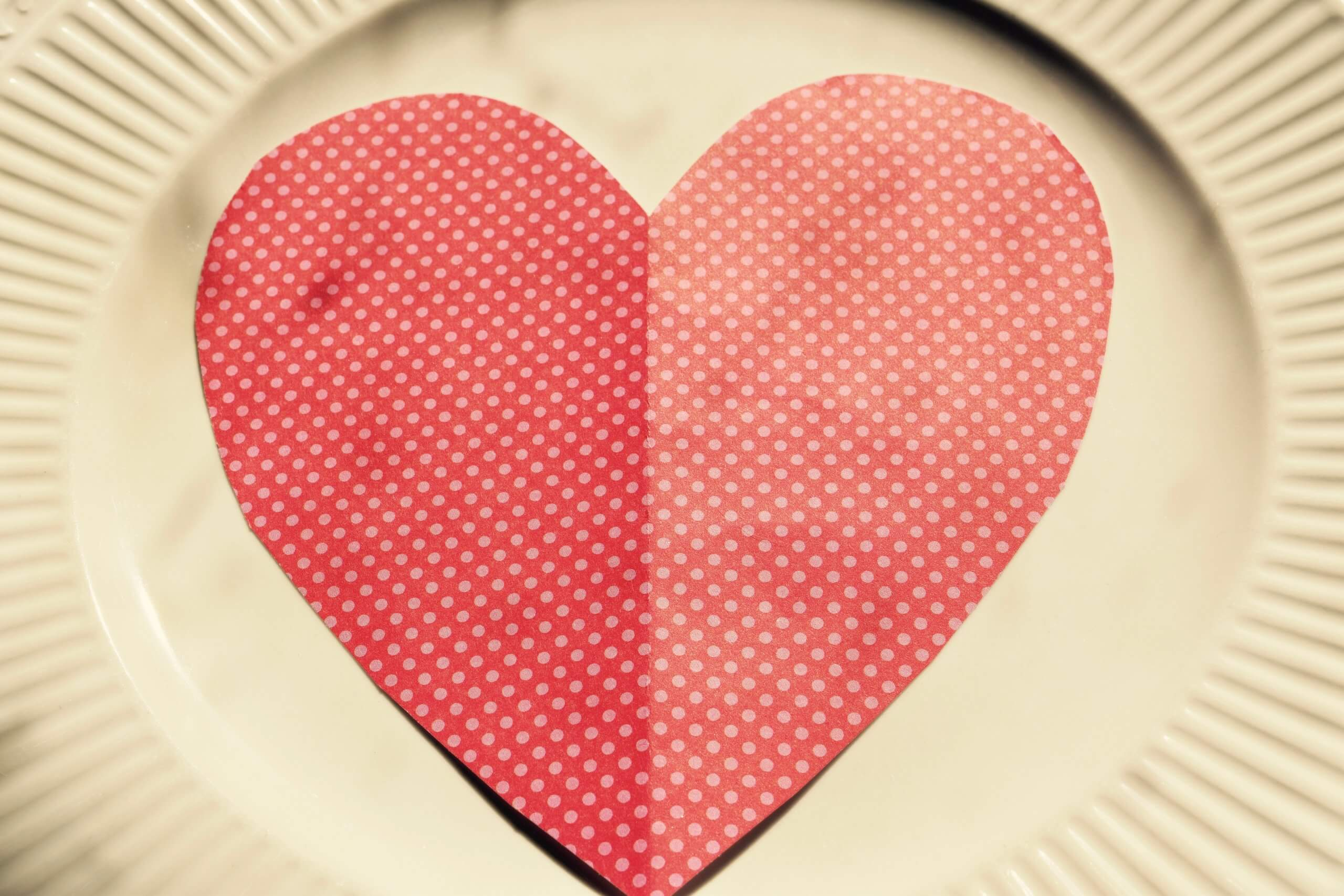 Red heart on plate